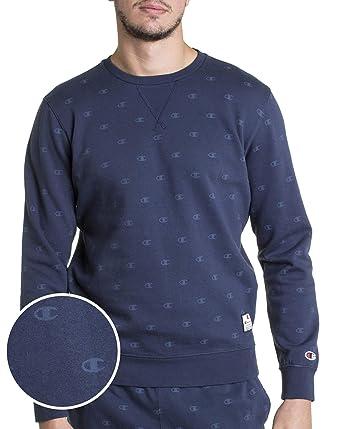 Champion - Pull Sweat 212174 Chaud entièrement marqué Logo de Marque -  Couleur  Bleu - b71048862656
