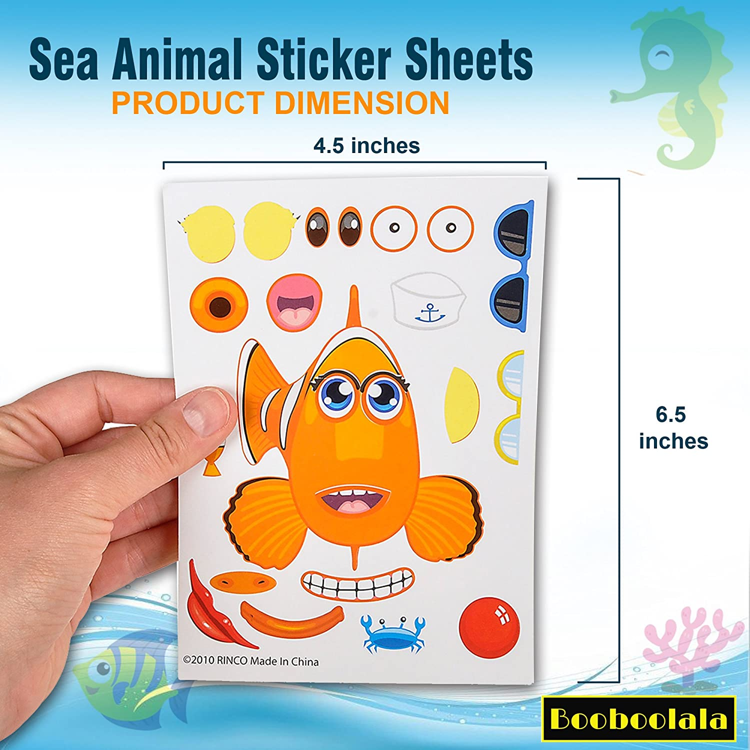 Great for Parties Enhance Your Child/'s Creativity! Booboolala School or Craft Time School or Craft Time Piece Set of Make-Your-Own Sea Sticker Sheets 48 Enhance Your Childs Creativity