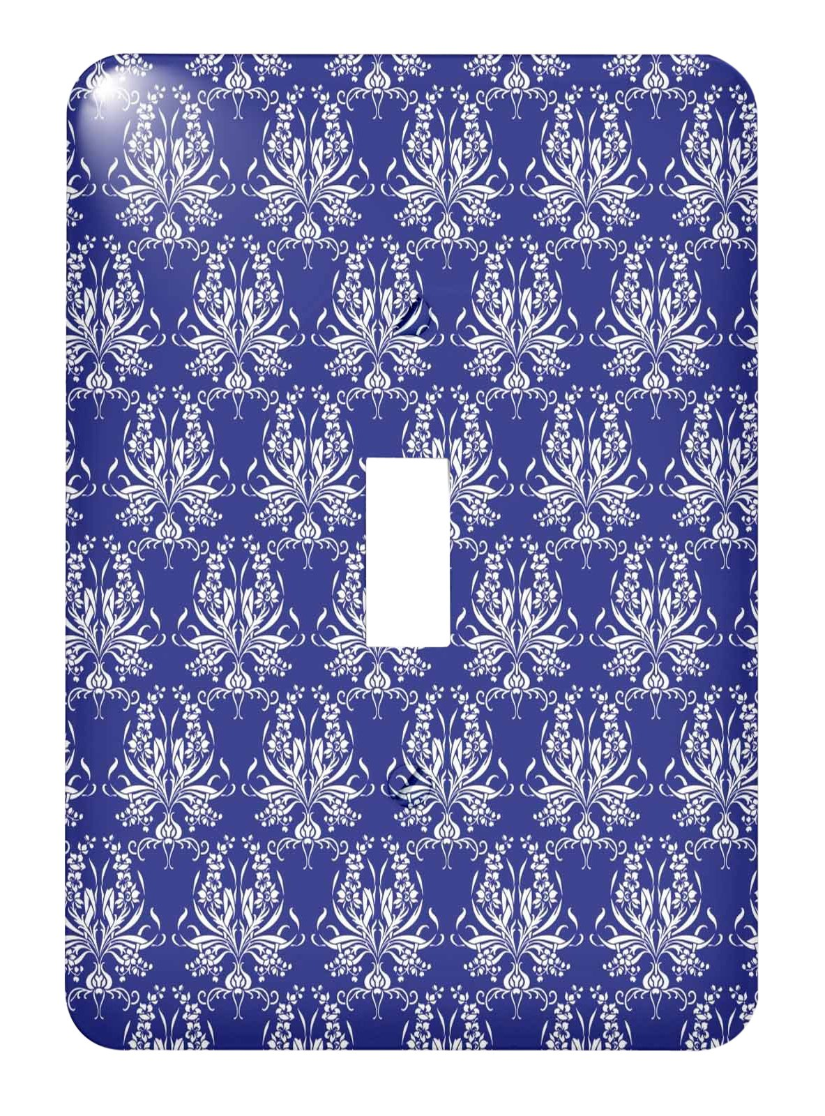 3dRose lsp_219107_1 Gorgeous French Country Style Floral Pattern In White and Blue - Single Toggle Switch