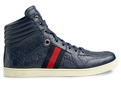 cd1a3c23880 Gucci Men's GG Guccissima Leather High-top Sneaker, Blue 221825 (US 8.5 (