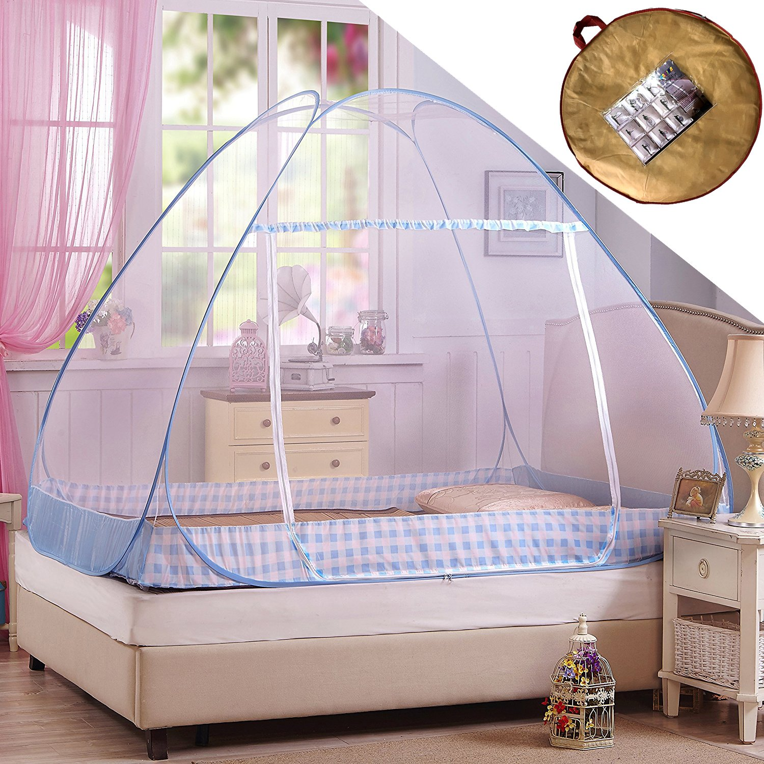 Hasika Pop-Up Mosquito/Folding Mosquito Net Tent Canopy Curtains for Beds Anti Mosquito Bites Folding Design with net Bottom for Babys Adults Trip(71 x 79 x 61 inches)
