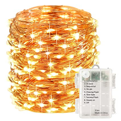 lightsetc 100 led fairy string lights battery operated 33ft copper wire warm white christmas lights copper - White Christmas Lights Amazon