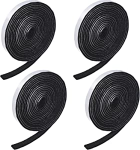 4 Rolls 1/2 x 120 Inch Self-stick Heavy Duty Felt Strips Self Adhesive Felt Tapes Polyester Felt Strip Rolls for Protecting Furniture and Freedom DIY Adhesive, 480 x 0.5 x 0.12 Inches, Black