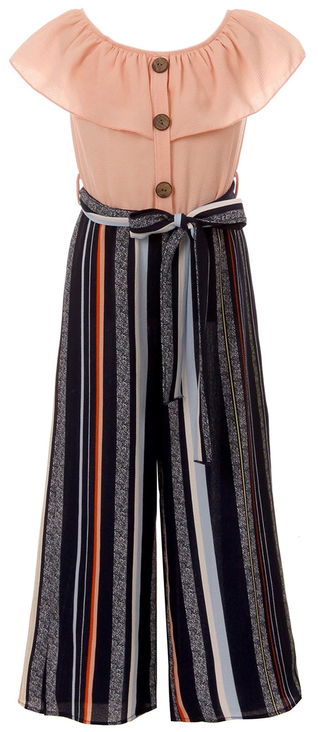 Big Girls Sleeveless Relax Fit Jumpsuit Chiffon Belt Summer Romper Jumpsuit Blush 8 (2J1K7S1) by BluNight Collection