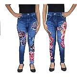 "Tara Lifestyle Stretchable flower printed denim look leggings for womens, waist size:26""-34"""