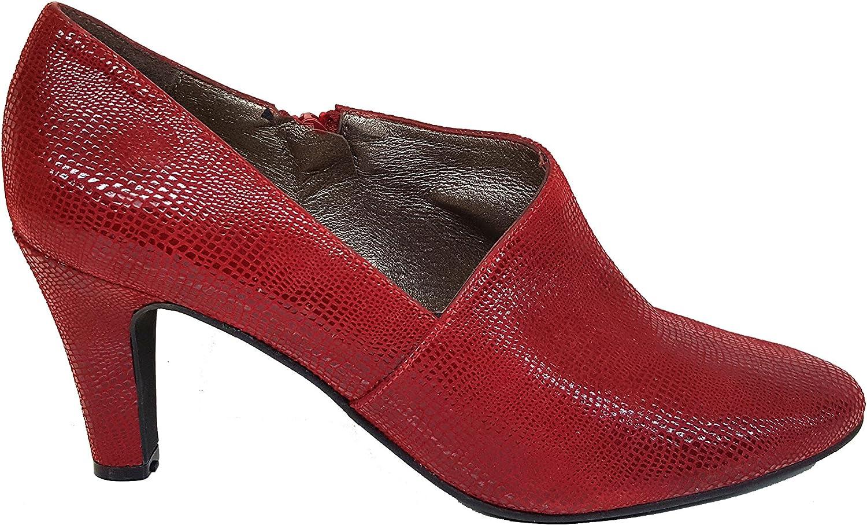Gennia VOFICE - Zapatos Abotinados (Botines) de Piel con Tacón de Aguja 7 cm y Plataforma 1 cm con Punta Cerrada para Mujer + Cierre con Cremallera