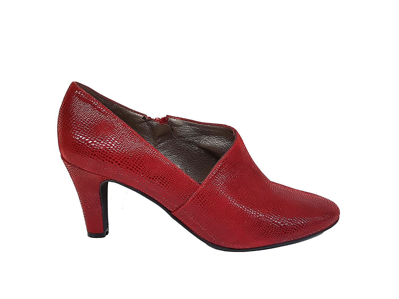 TALLA 43 EU. Gennia VOFICE - Zapatos Abotinados (Botines) de Piel con Tacón de Aguja 7 cm y Plataforma 1 cm con Punta Cerrada para Mujer + Cierre con Cremallera