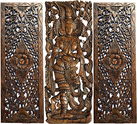 Sawaddee Thai Greeting Figure and Floral Wood Carving Wall Decor Panels. Asian Home Decor Wall Art