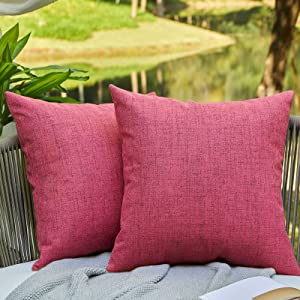 WAYIMPRESS Outdoor Pillows for Patio Furniture Waterproof Pillow Covers Square Garden Cushion Farmhouse Linen Throw Pillow Covers Shell for Patio Tent Couch (18 x 18,Red)