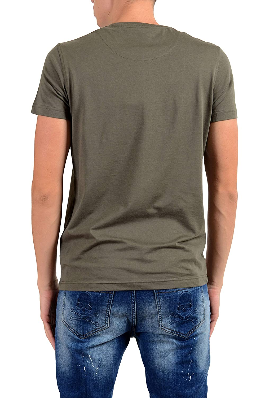 ROBERTO CAVALLI Mens Olive Green Graphic Crewneck T-Shirt Size US L IT 52
