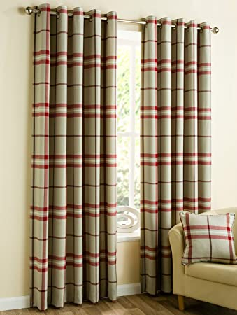 Highland check tartan stripe red wine natural cream linen cotton ...