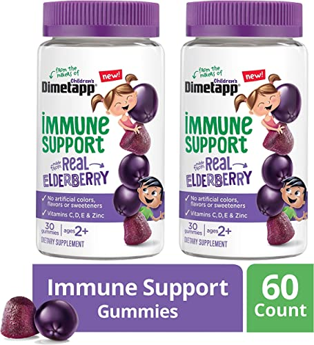 Children s Dimetapp Elderberry Gummies 60Count Immune Support for Kids, Vitamins C, D, E Zinc, No Artificial Colors, Flavors or Sweeteners