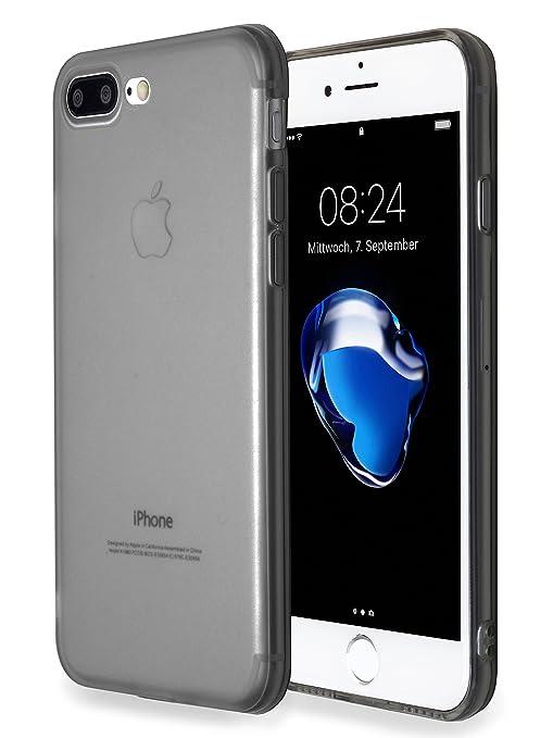 MyGadget Funda Slim para Apple iPhone 7 Plus /8 Plus en Silicona TPU - Anti Polvo - Carcasa Protectora Ultra Delgada 1mm Transparente cómoda - Gris