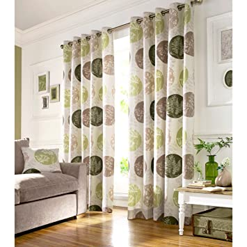 Green Curtains amazon green curtains : BRIGHTWOOD FULLY LINED CURTAINS - Floral Motif Eyelet Beige Green ...