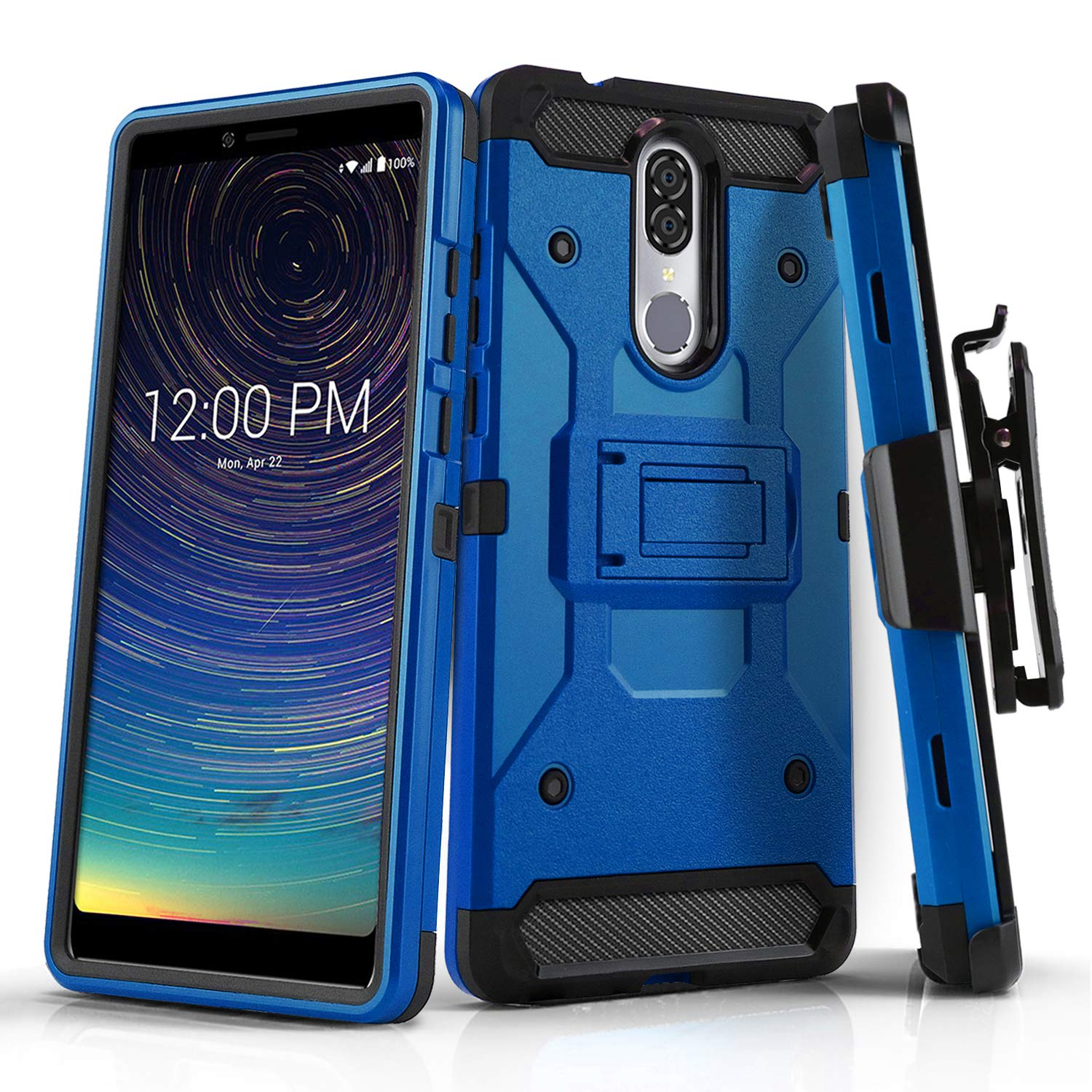Phone Case for [COOLPAD Legacy (Metro PCS, T-Mobile)], [Tank Series][Blue]  Shockproof Defender Cover with [Kickstand] & [Swivel Belt Clip Holster] for