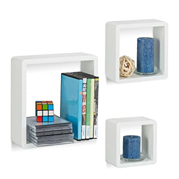 Fesselnd Relaxdays Wandregal Cube 3er Set, Quadratische MDF Wandboards, Belastbare  Schweberegale Für Das Wohnzimmer,