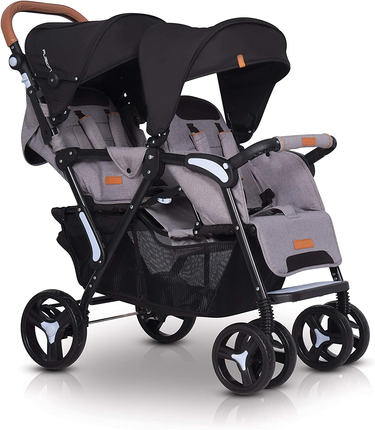 Backrest Adjustment in Double Stroller Twin Stroller has Sunshade Lightweight Double Pushchairs Swivel Wheels /& Roomy Shopping Basket Double Buggy with Footmuff Raincover