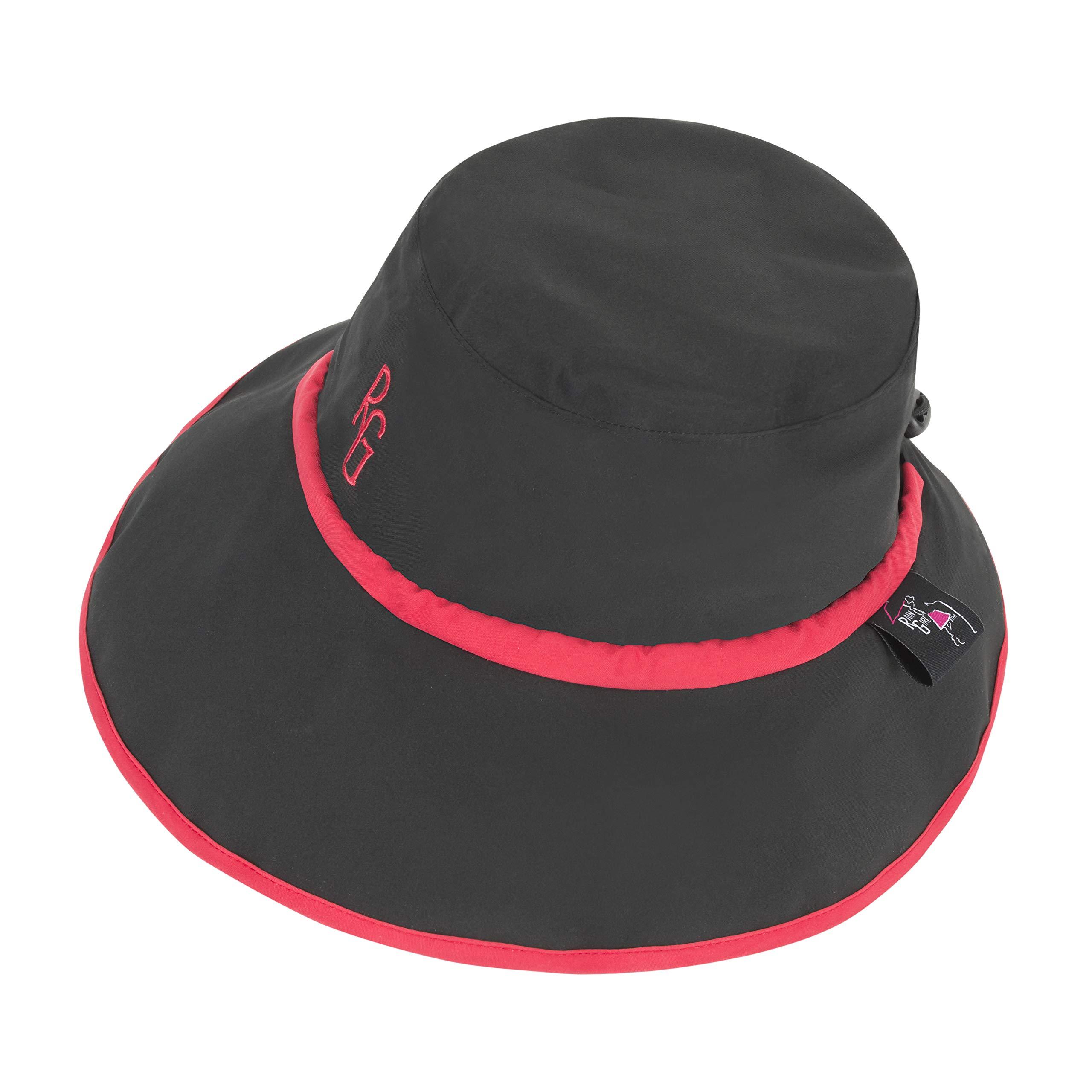 Women's Golf Rain Hat Black with Red Trim by Rain Girl