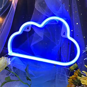 Blue Cloud Light Neon Signs Neon Lights for Wall Decor,USB or Battery LED Signs for Bedroom, Decorative Neon Light Sign for Christmas,Birthday Party, Living Room, Girls,Kids Room