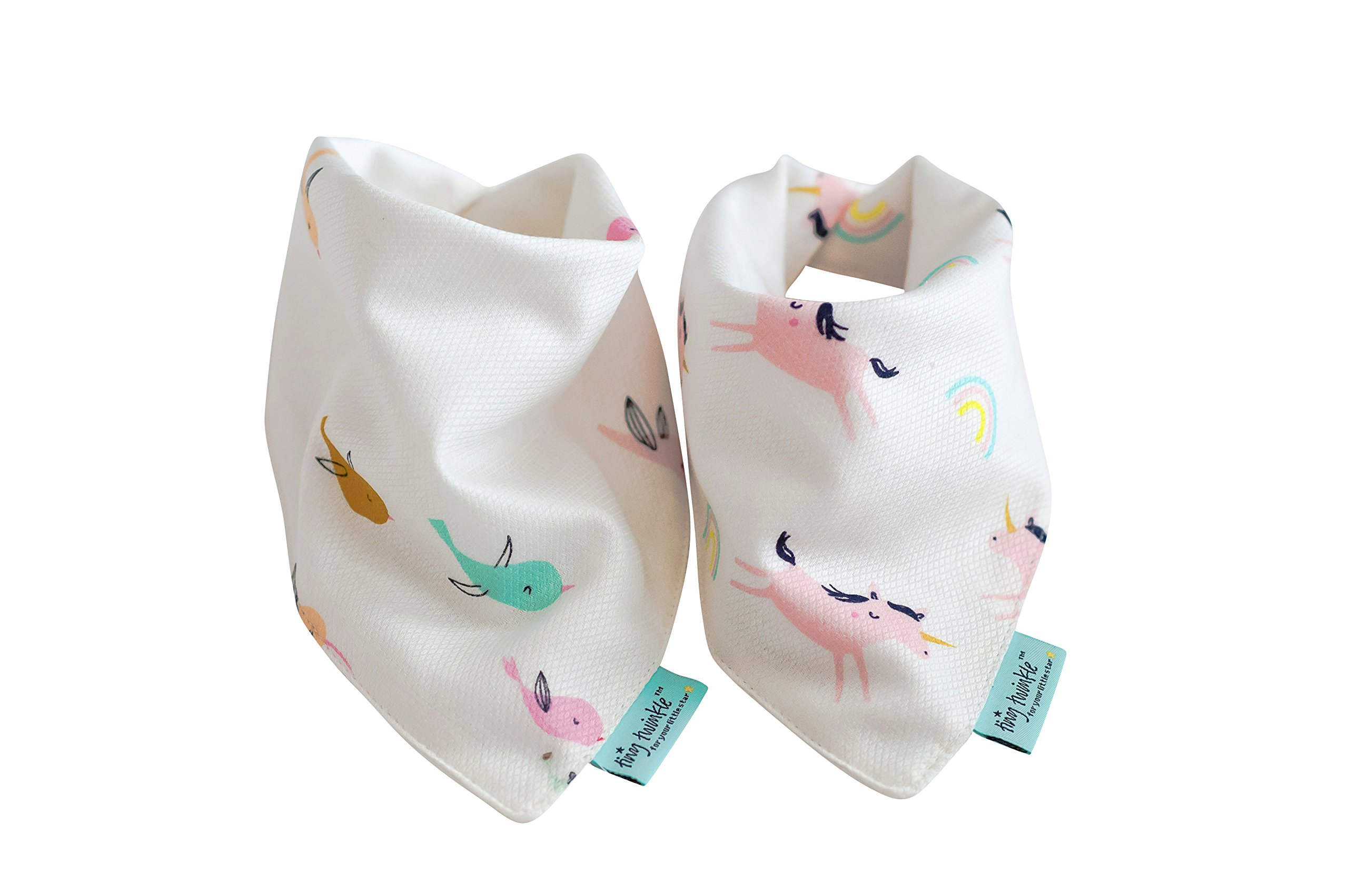 Soft, Absorbent, Waterproof Drool Bib with 3 Layer Kaffle Technology for Sensitive Skin: 2 Pack (Bird, Unicorn) by Tiny Twinkle