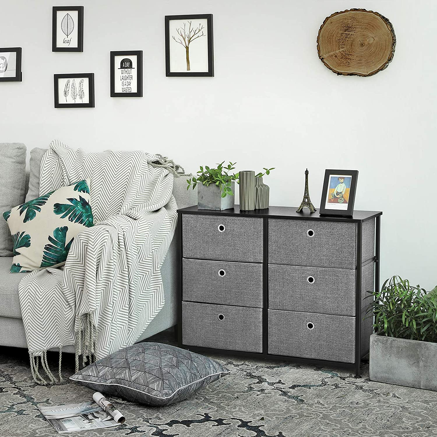 SONGMICS 3-Tier Wide Dresser, Storage Unit with 6 Easy Pull Fabric Drawers, Metal Frame, and Wooden Tabletop, for Closet, Nursery, Hallway, 31.5 x 11.8 x 24.8 Inches, Gray ULTS23G: Furniture & Decor