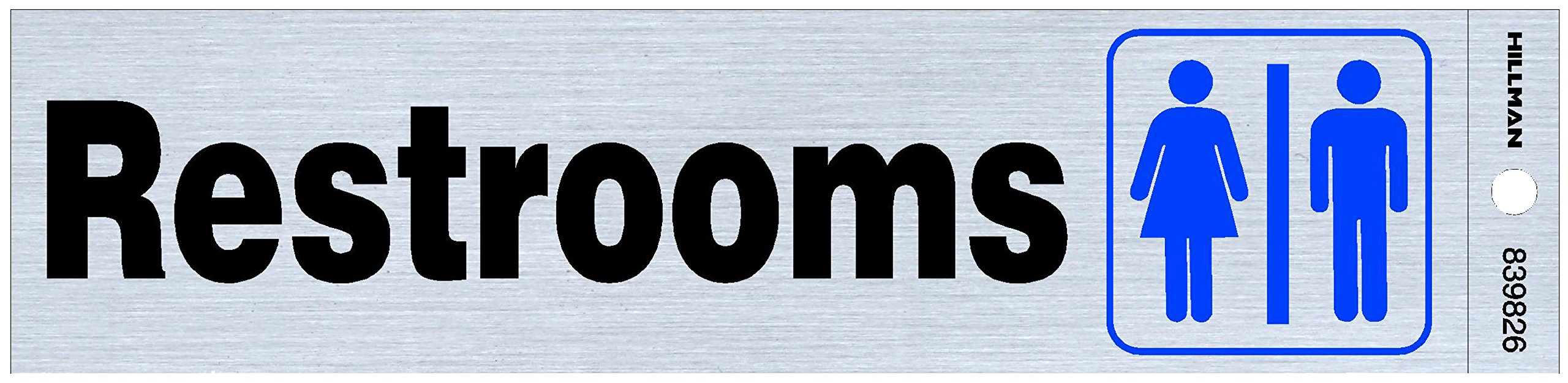 Hillman 839826 Restrooms Self Adhesive Sign, Nickel, Black and Blue Mylar, 2x8 Inches 1-Sign