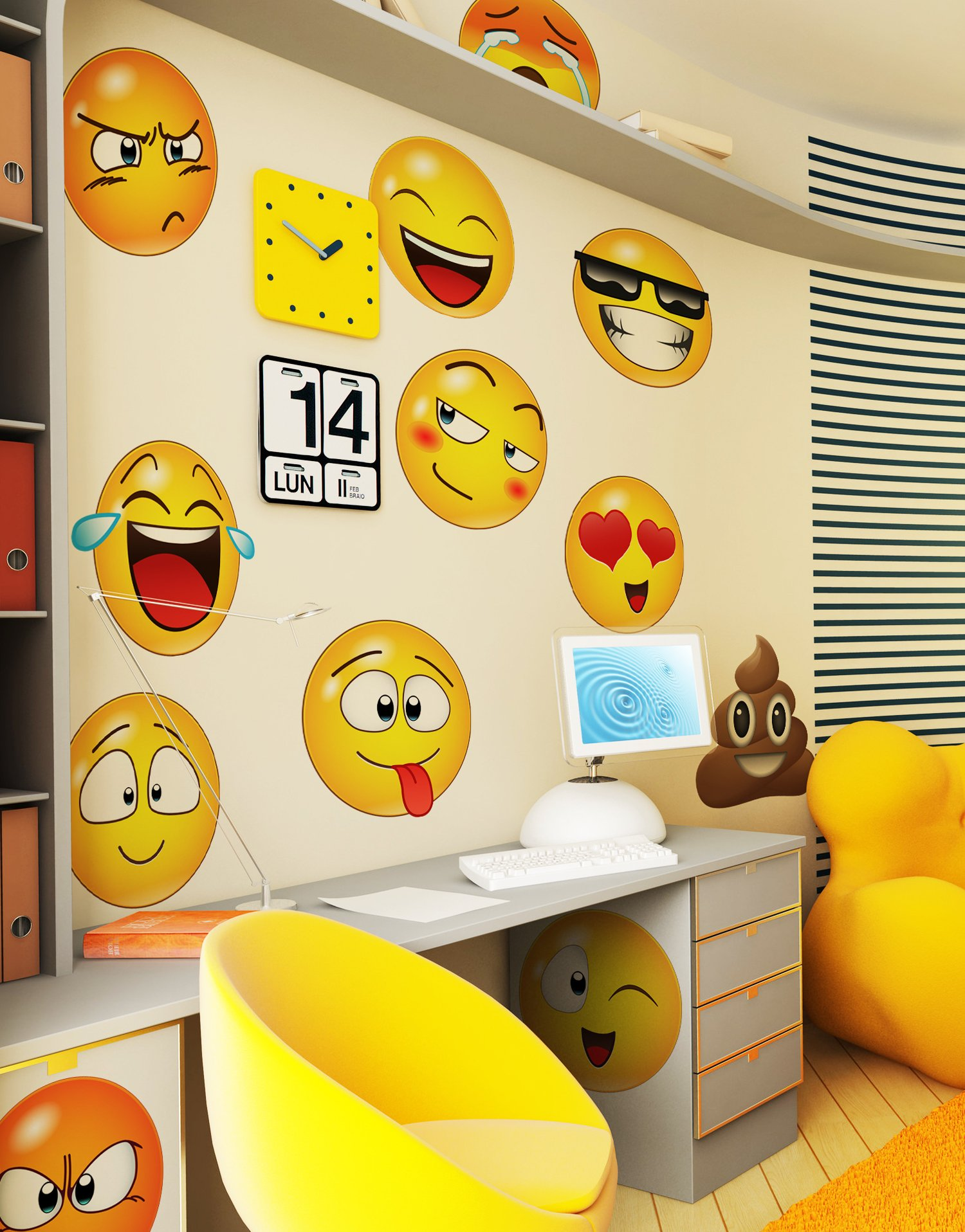 12 Large Emoji Wall Decal Faces Sticker #6052s 10in X 10in Each by Stickerbrand (Image #2)