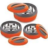 Asian Plastowares Cosmos Plastic Casserole Set, 3-Pieces, Orange
