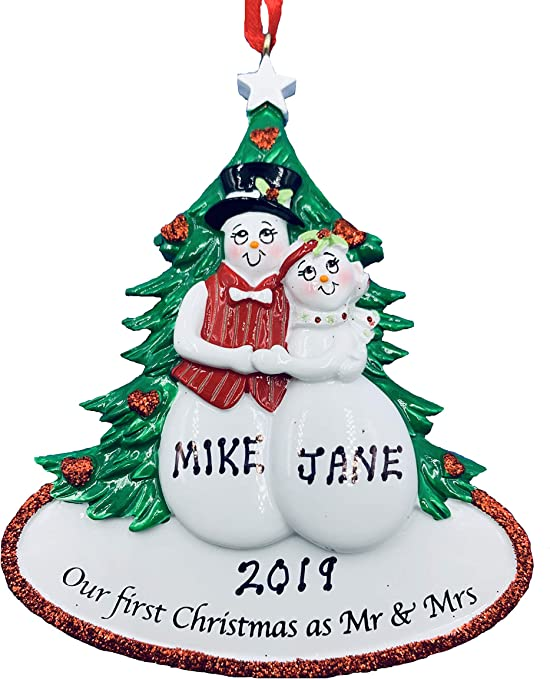 Personalised Our First Christmas Together Snowmen Card Husband Wife Mr /& Mrs
