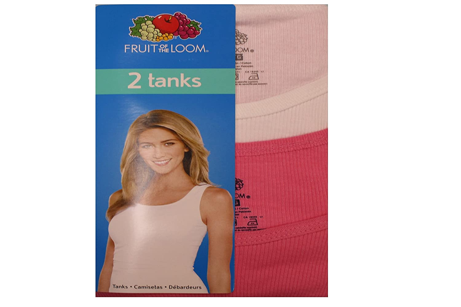 Fruit of the Loom Women 2-Pack Ribbed Cotton Tank at Amazon Womens Clothing store: Tank Top And Cami Shirts