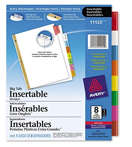 Amazon.com : Avery WorkSaver Big Tab Insertable Tab Divider ...