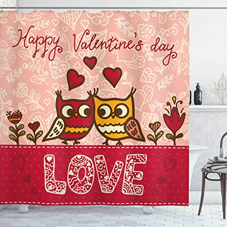Amazon Com Ambesonne Valentines Day Shower Curtain Owls In Love Print Partners Couples Boho Style Hearts Flowers Dots Cloth Fabric Bathroom Decor Set With Hooks 70 Long Pink Red Yellow Home Kitchen