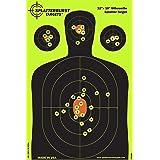 Splatterburst Targets - 12 x18 inch - Silhouette Reactive Shooting Target - Shots Burst Bright Fluorescent Yellow Upon Impact - Gun - Rifle - Pistol - Airsoft - BB Gun - Air Rifle