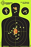 Splatterburst Targets 12 x 18 inch - Silhouette Reactive Shooting Target - Shots Burst Bright Fluorescent Yellow Upon Impact - Gun - Rifle - Pistol - AirSoft - BB Gun - Air Rifle