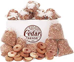 CEDAR SENSE - Cedar Sachet 32 Pack - 12 Cedar Sachets - 20 Cedar Rings - Cedar Blocks for Clothes Storage - Cedar Chips - Cedar for Block Storage - Cedar Closet Aroma - Cedar Chips -