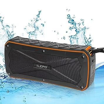 Ilepo Altavoces Inalámbricos Bluetooth BK4.1 IP66 A Prueba De Agua 4500Mah Banco De Poder