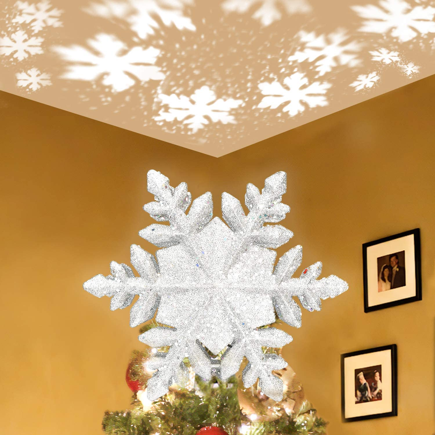 Christmas Tree Topper Snowflake Gold Glitter Metal Holiday Winter Snow