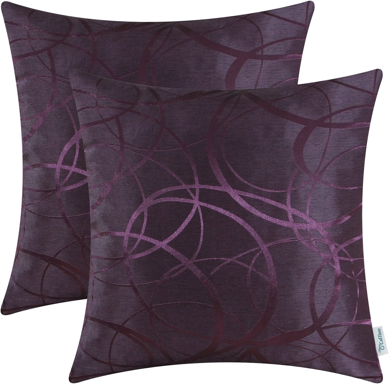 CaliTime Pack of 2 Cushion Covers Throw Pillow Cases Shells for Couch Sofa Home Decor Modern Shining & Dull Contrast Circles Rings Geometric 18 X 18 Inches Deep Purple
