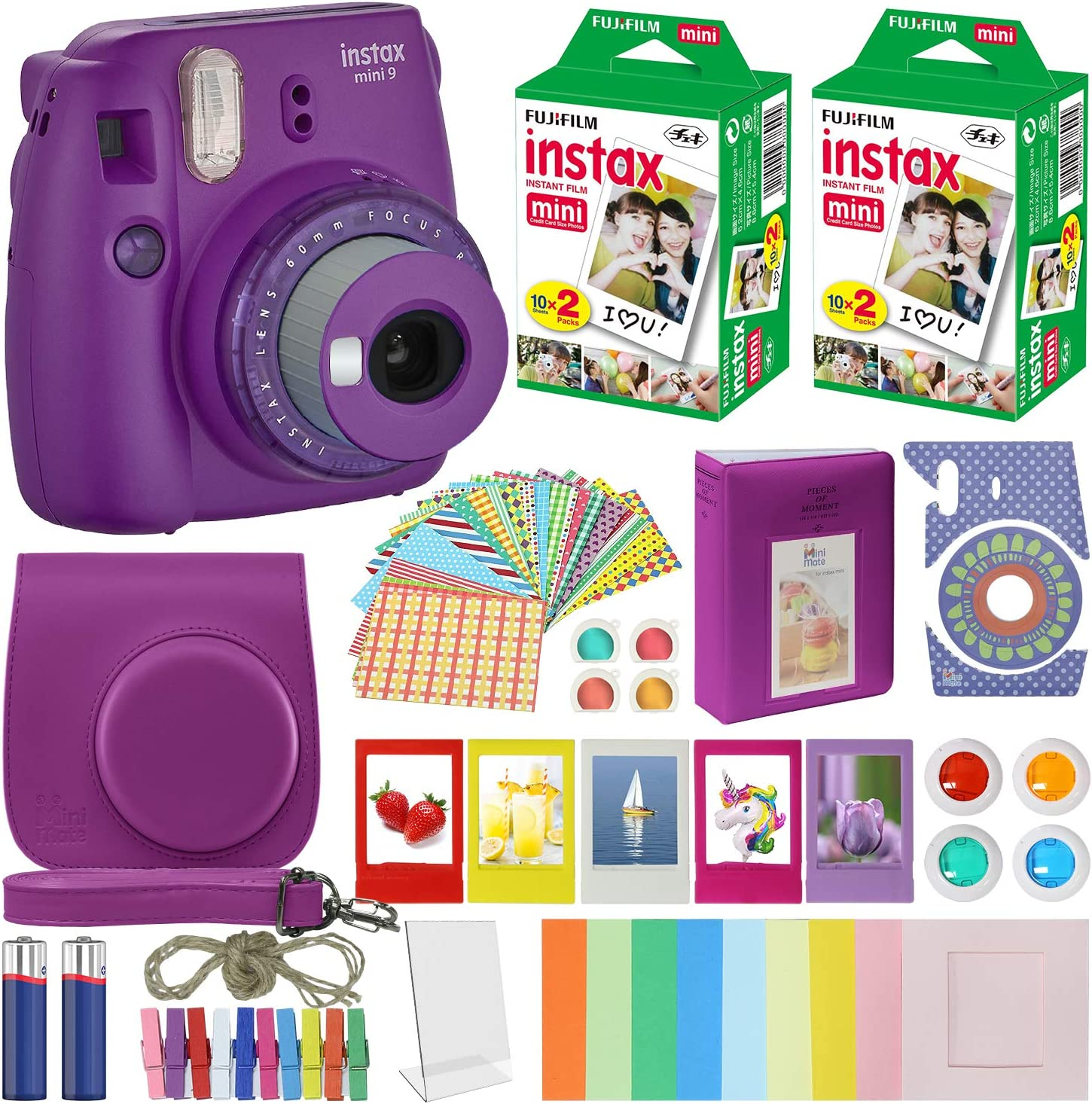 Fujifilm Instax Mini 9 - Instant Camera Clear Purple with Clear Accents with Carrying Case + Fuji Instax Film Value Pack (40 Sheets) Accessories Bundle, Color Filters, Photo Album, Assorted Fra