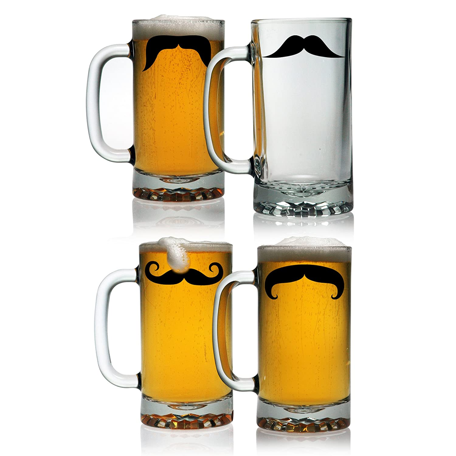 amazoncom susquehanna glass moustache pub beer mugs set of 4 16 ounces beer stein beer mugs u0026 steins