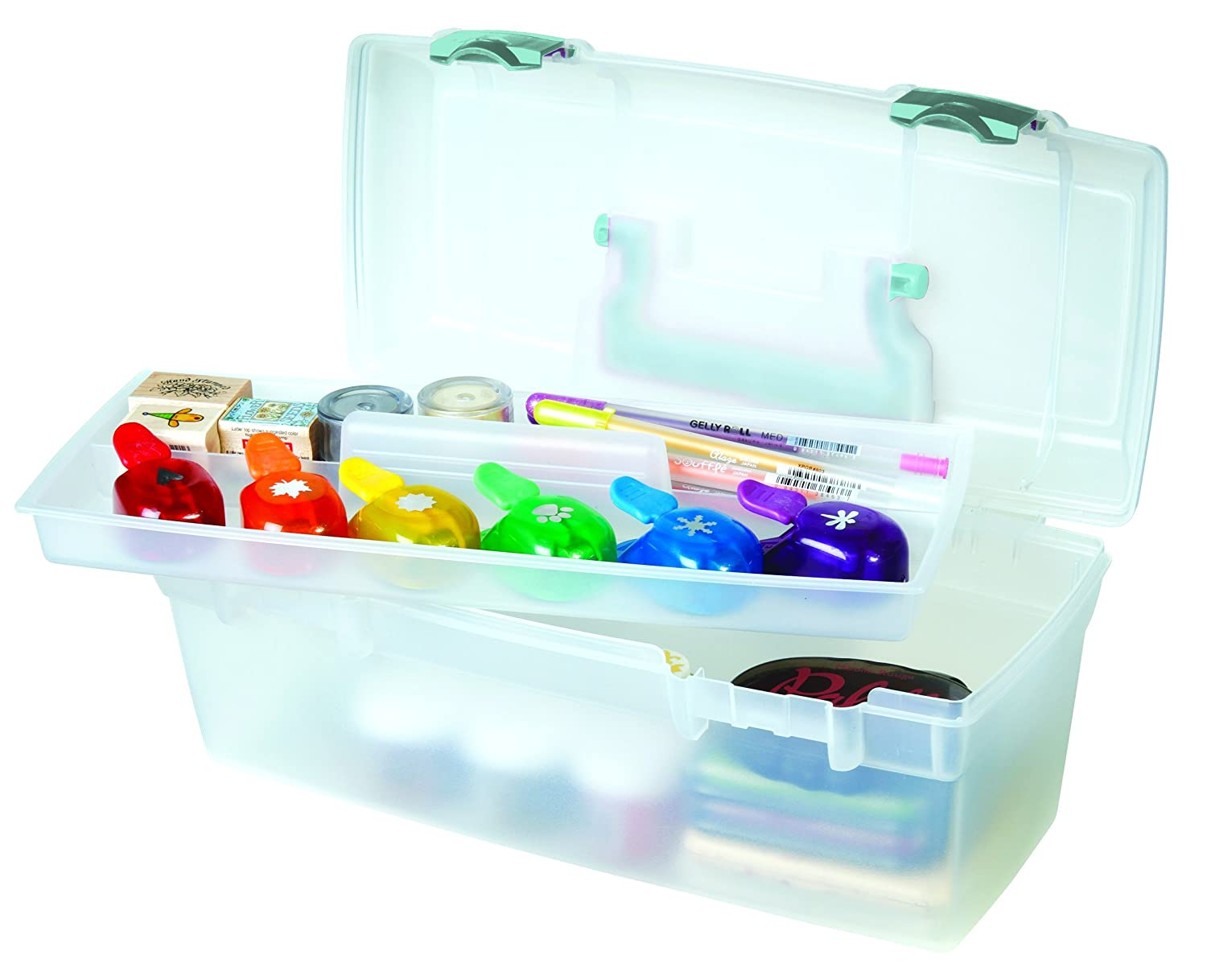 ArtBin Essentials Lift Out Tray with Black Latches and Handle-Clear Art// Craft Storage Box 83805