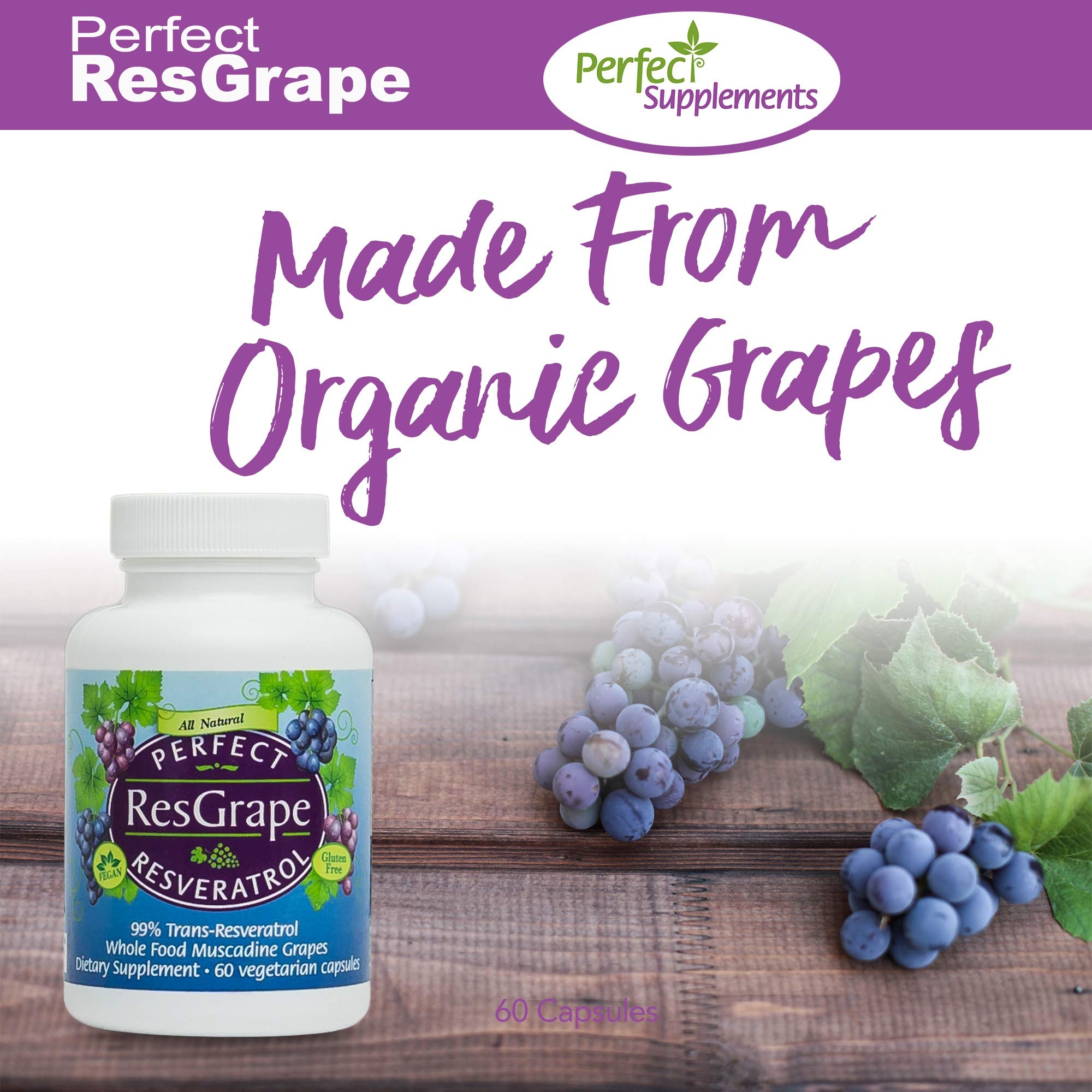 Perfect Resgrape Resveratrol Supplement - 200mg 99% Trans-Resvertarol - Made From Organic Muscadine Grapes - 60 Vegetable Capsules by Perfect Supplements (Image #5)