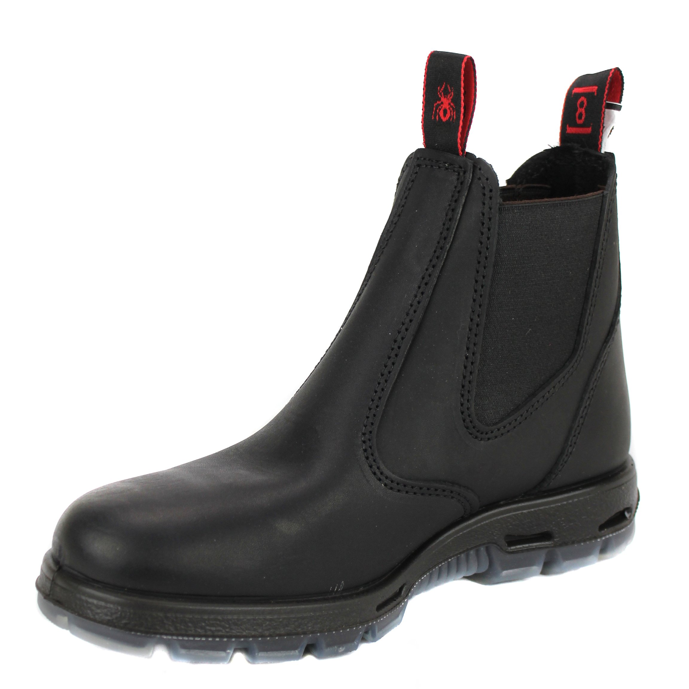 81a27f4b7a5ea1 RedbacK Men s Bobcat UBBK Elastic Sided Soft Toe Black Leather Work Boot