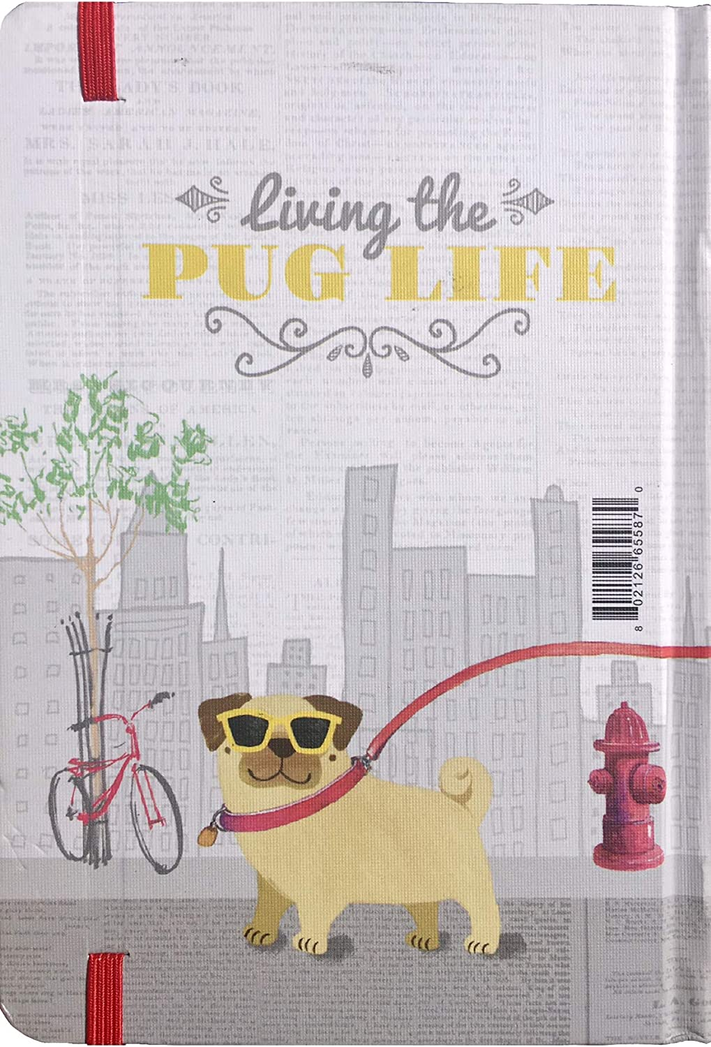 Punch Studio Hard Cover Gold Foil Bungee Journal ~ Living The Pug Life 65587