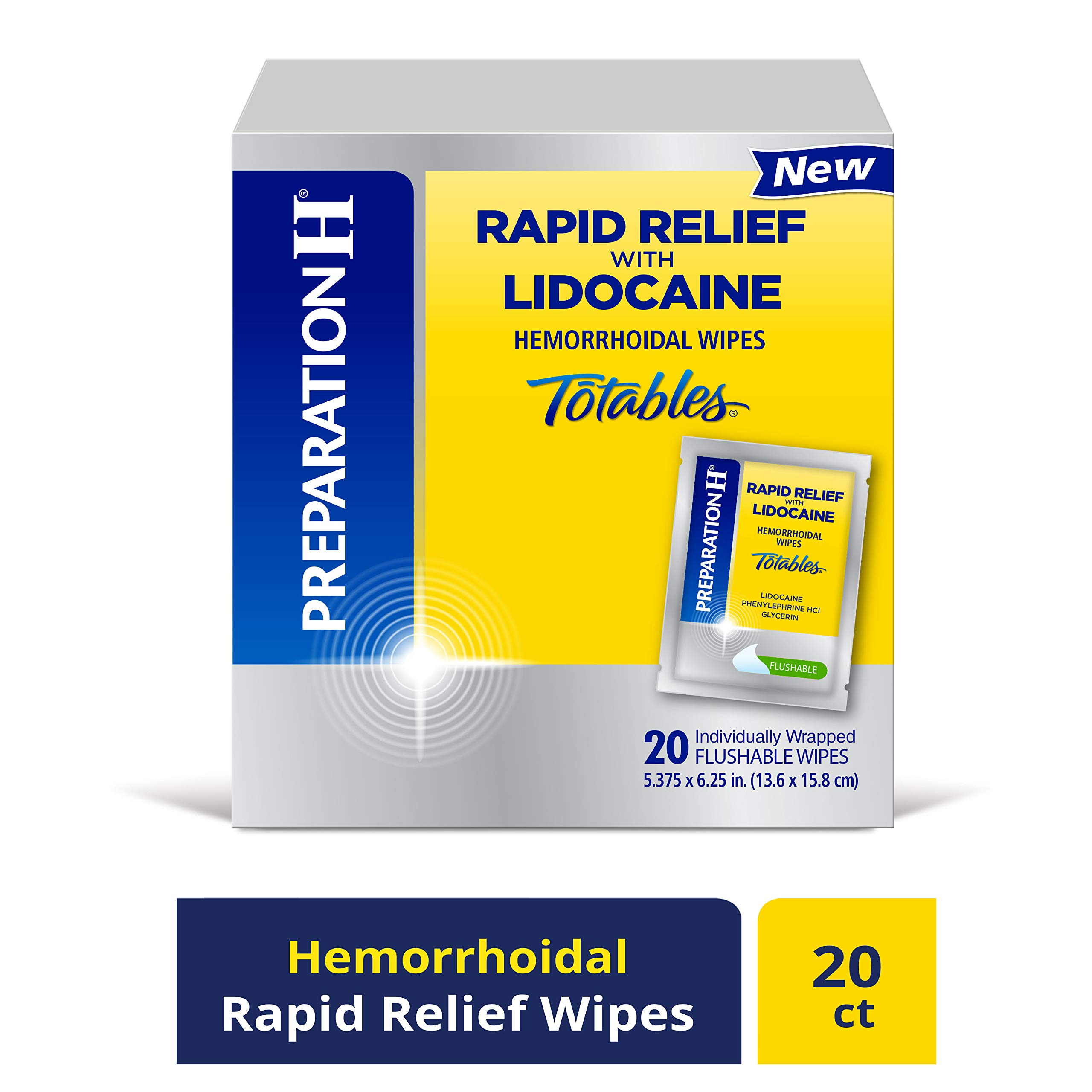 PREPARATION H Rapid Relief with Lidocaine Hemorrhoid Symptom Treatment Flushable Wipes, Numbing Relief for Pain, Burning & Itching, Reduces Swelling, 20 Count by Preparation H