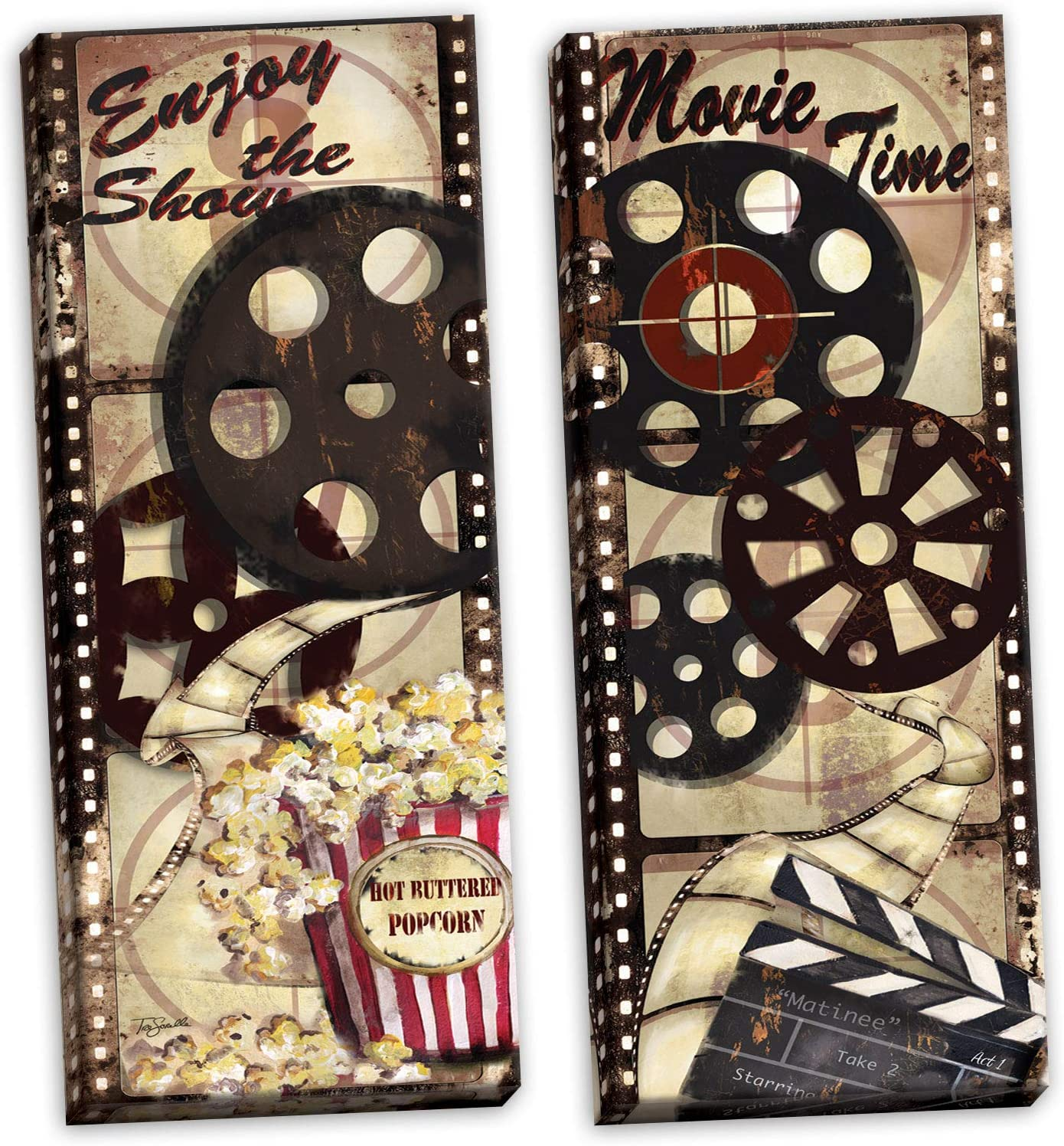 Gango Home Décor Movie Night! Classic Old-Fashioned Cinema Enjoy The Show and Movie Time Panel Set by TRE Sorelle Studios; Two 8x20in Stretched Canvases