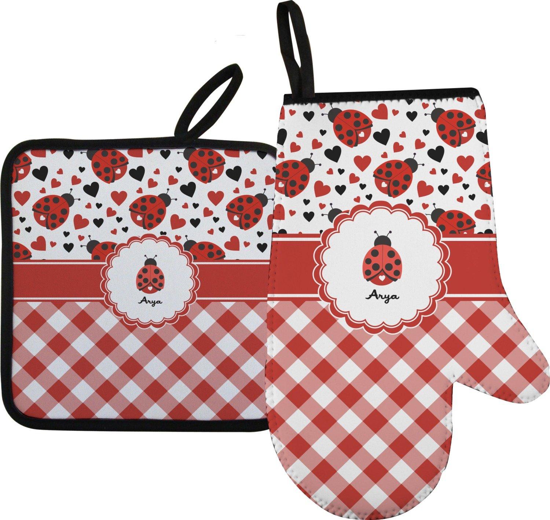 RNK Shops Ladybugs & Gingham Oven Mitt & Pot Holder (Personalized)