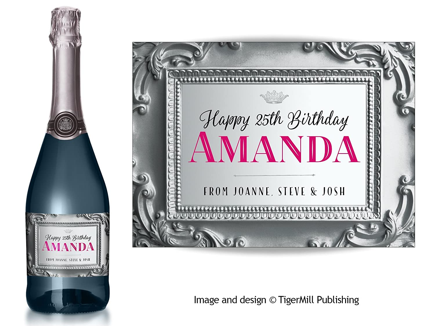 PERSONALISED Champagne label silver baroque effect Engagement Anniversary Wedding Hen night any occasion gift Silver//Red type Birthday