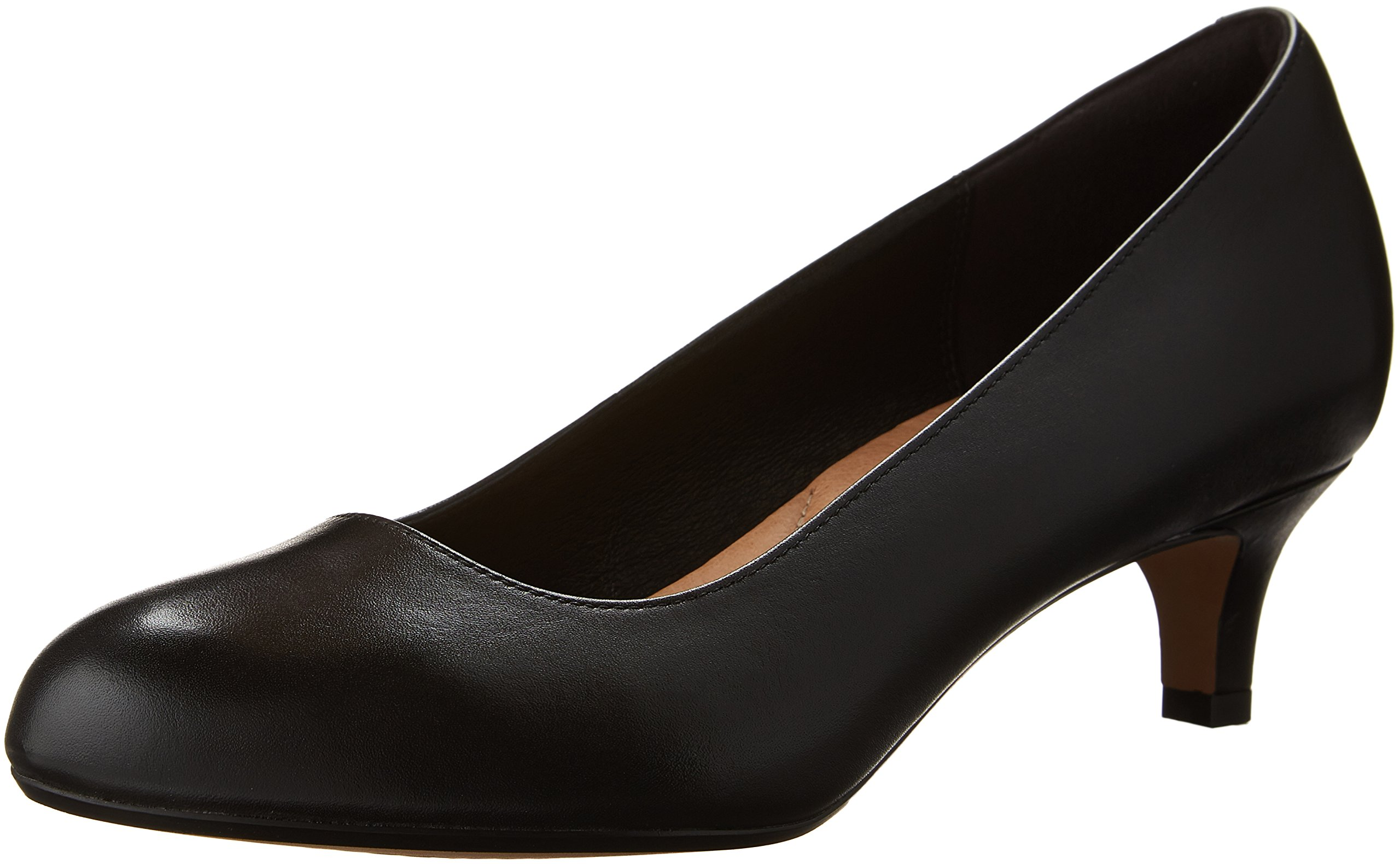 Clarks Women's Heavenly Shine Dress Pump, Black Leather, 7 W US