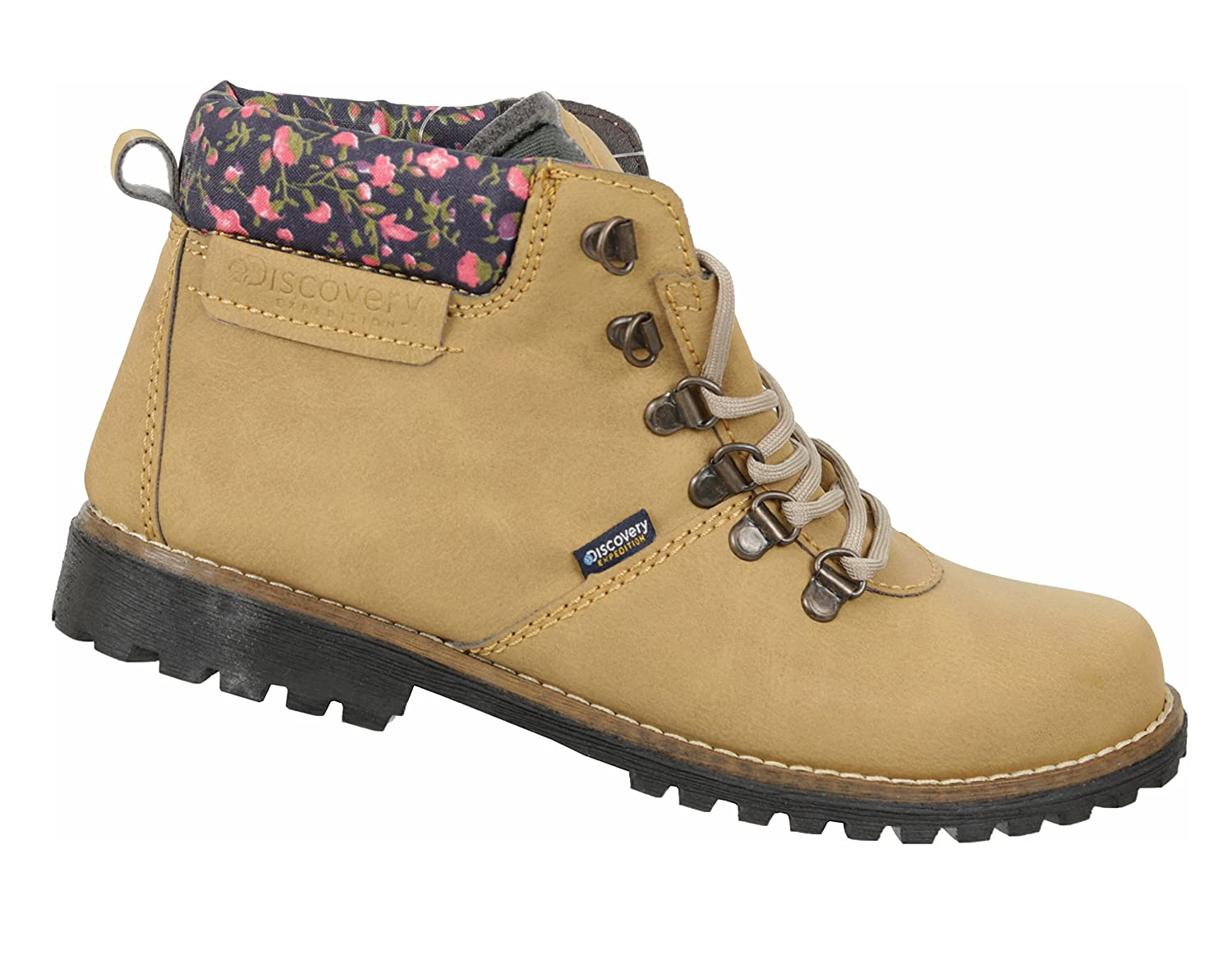 Discovery Expedition Women's Ankle High Outdoor Boot w/Fashion Patterened Trim B078JZDXC5 6 B(M) US|Honey-floral
